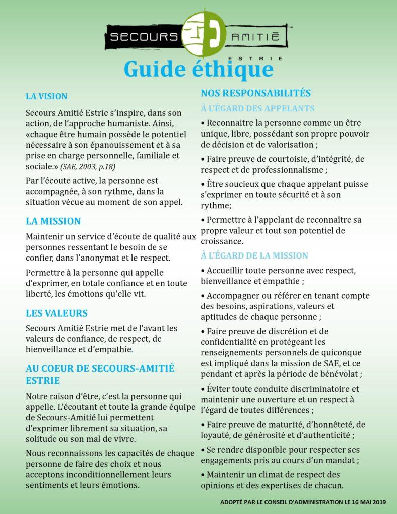 Guide éthique de Secours-Amitié Estrie